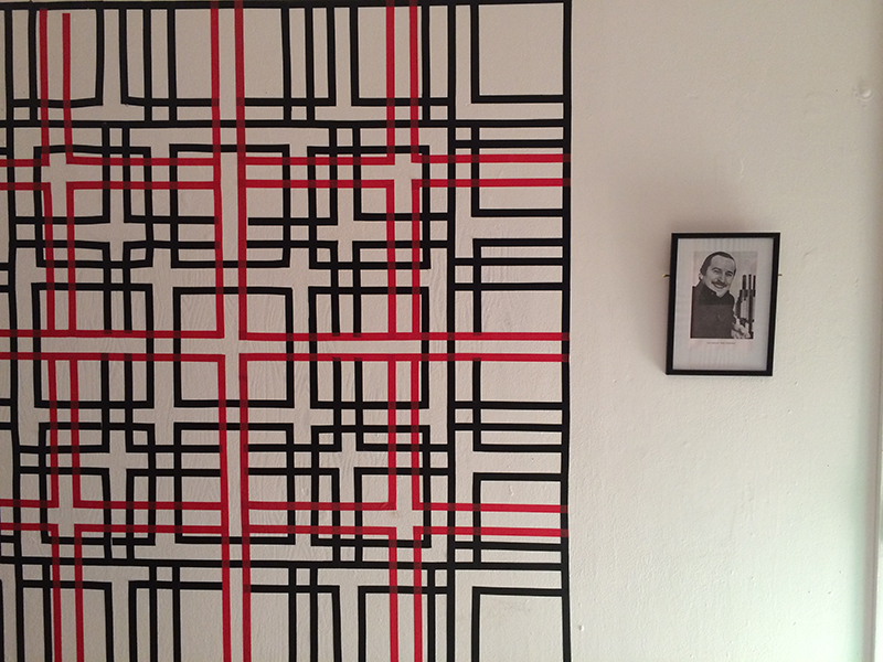 Intricate black and red interlocking lines walled pattern at the BA Graphic Design Swissmas Christmas Party in 2014