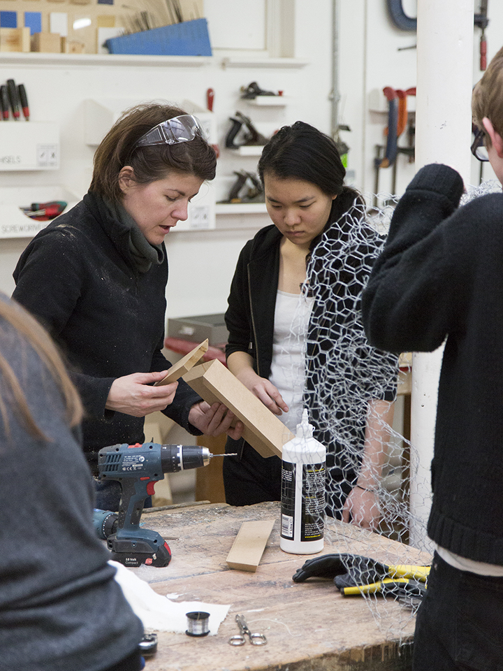 3D and Digital Media Technician Ashleigh Pearson working the the £D workshop with students
