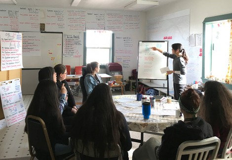 Teaching a crash course on the importance of hierarchy in layout design at the language-learning centre on Saint Paul Island, Alaska.