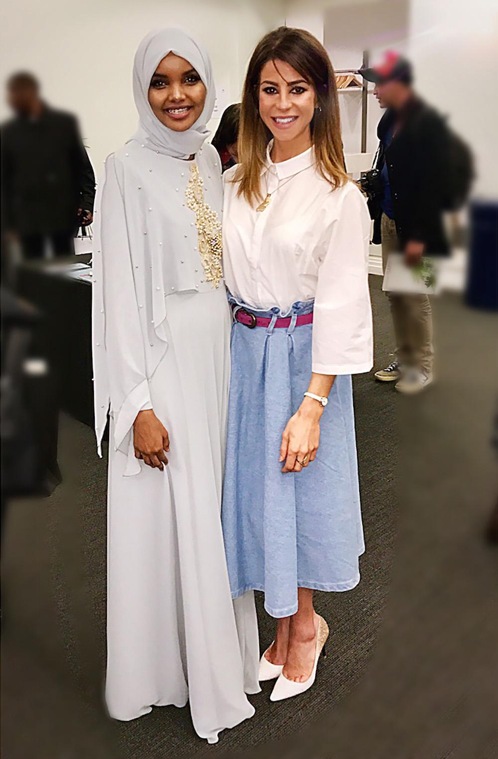 Model Halima Aden with UNDER-RAPT Founder Yasmin Sobeih.