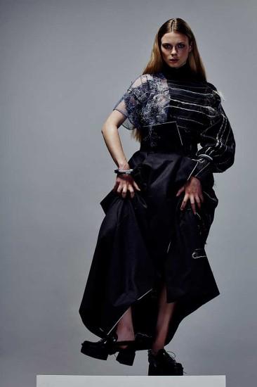 Womenswear by Seokwoo Lee, BA (Hons) Fashion Design Technology: Womenswear. Textiles by Amelia Potts, BA (Hons) Fashion Textiles: Embroidery. Photographer: James Rees , Creative Direction: Rob Phillips, Hair: Ezana Ové, Beauty: Kirsty Gaston