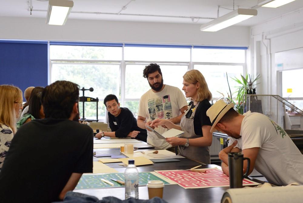Bookmaking session at LCC studios. Image by Bryan Lanas.
