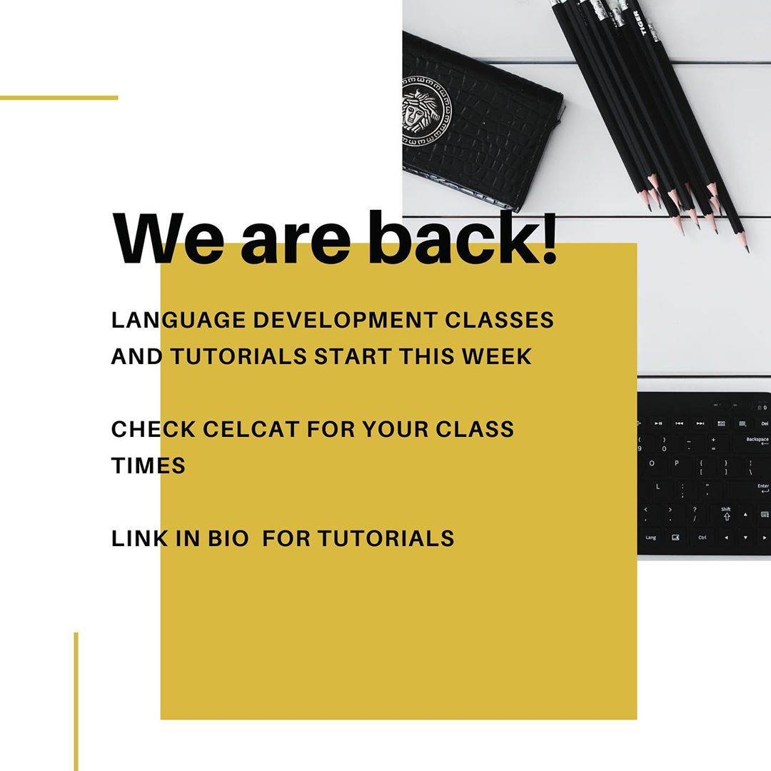 Instagram Post from Language Centre mentioning 'We are back