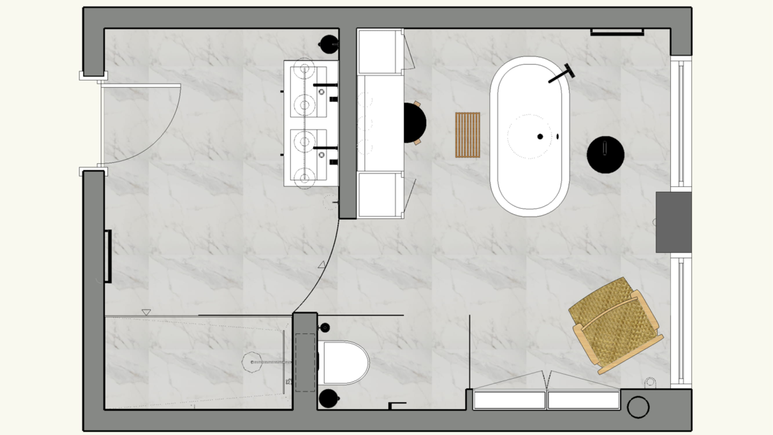 Birdseye view of floor plan for a bathroom space