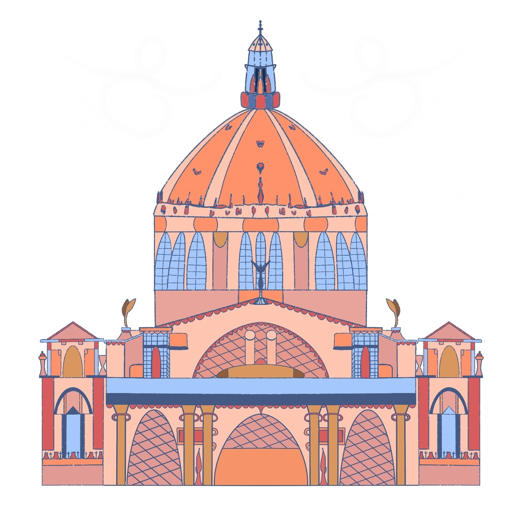 A digital illustration of a cathedral building