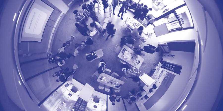 Fisheye view of workshop from above