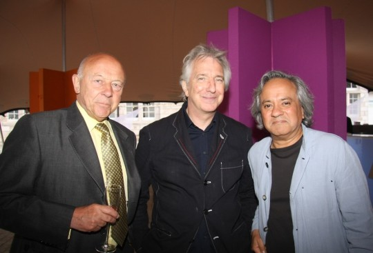 Anish Kapoor (far right) at the launch of the Rootstein Hopkins Parade Ground, with fellow alumnus Alan Rickman (middle) and former UAL Chair Sir John Tusa
