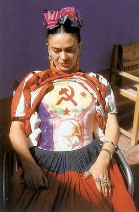 Photograph of Frida Kahlo wearing a body cast