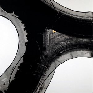 Abstract image of parts of white cirlces. Made with black ink strokes