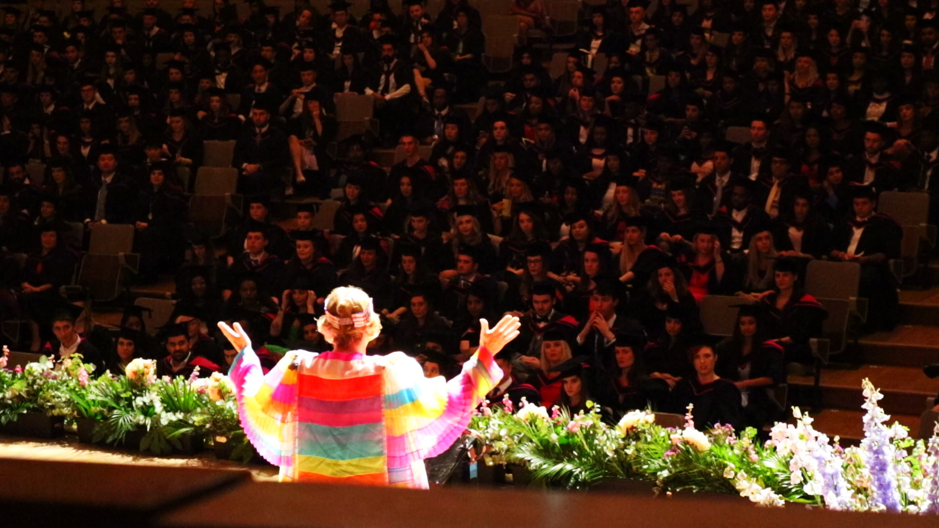 Grayson Perry on stage in his new robes at the UAL Graduation ceremonies
