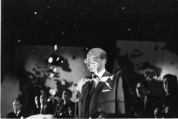 Photograph Peter Sellers as the President pie in the face Image from the Stanley Kubrick Archive held at the University of the Arts London supplied with thanks to the SK Film Archives LLC, Sony Colombia, the Kubrick family, and University of the Arts London
