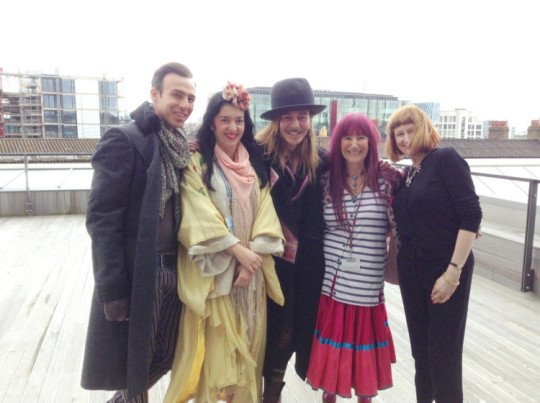 Left to right - Alexis Roche, Elisa Palomino, John Galliano, Natalie Gibson and BA Fashion Course Leader Willie Walters