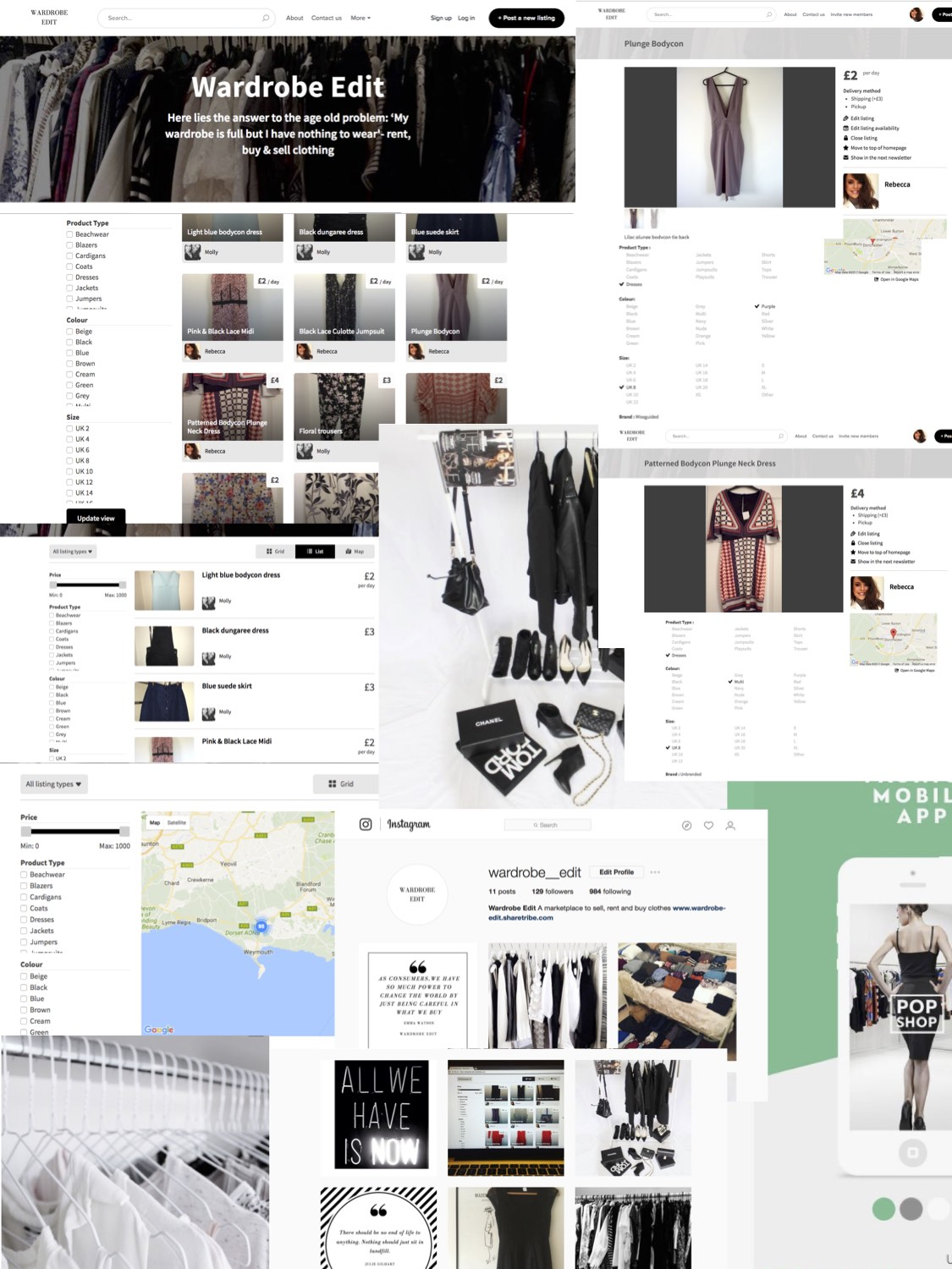 he Shift of Consumption is From Ownership to Access. Will the Sharing Economy Be Fundamental in Shaping a Sustainable Future for the Fashion Industry? Mood board of the marketplace by Rebecca Mercedes.