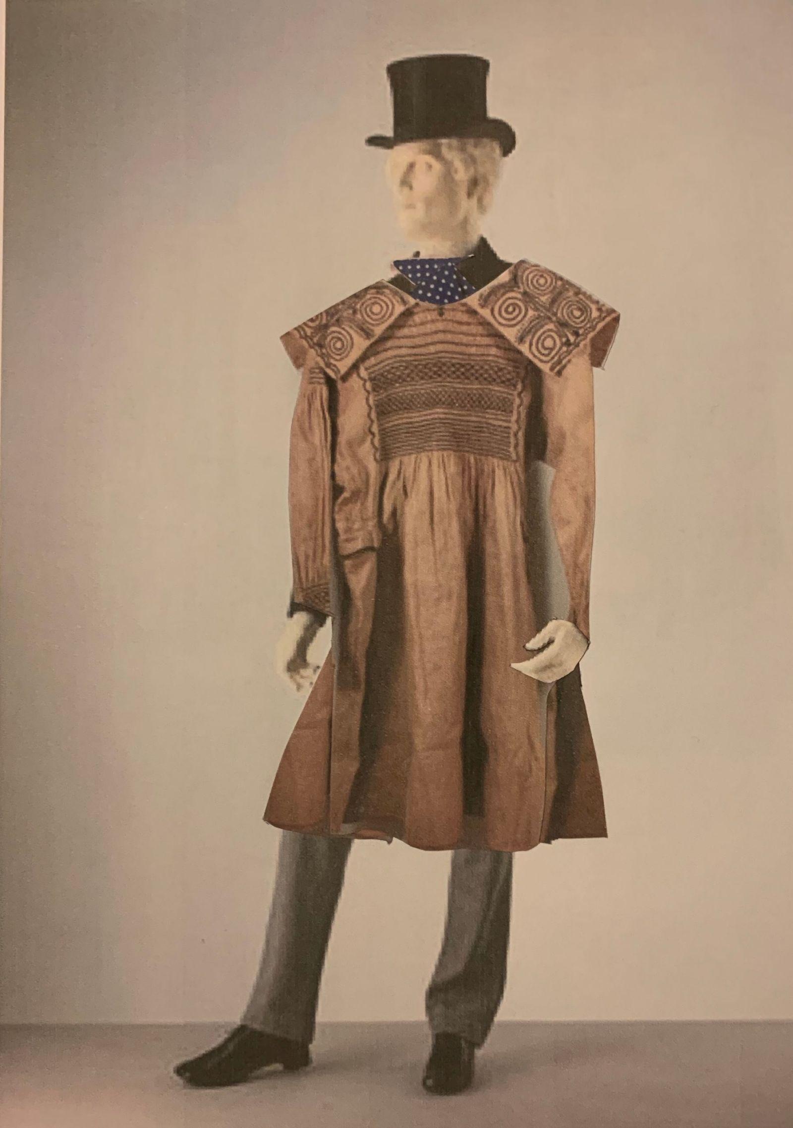 male mannequin in smock coat