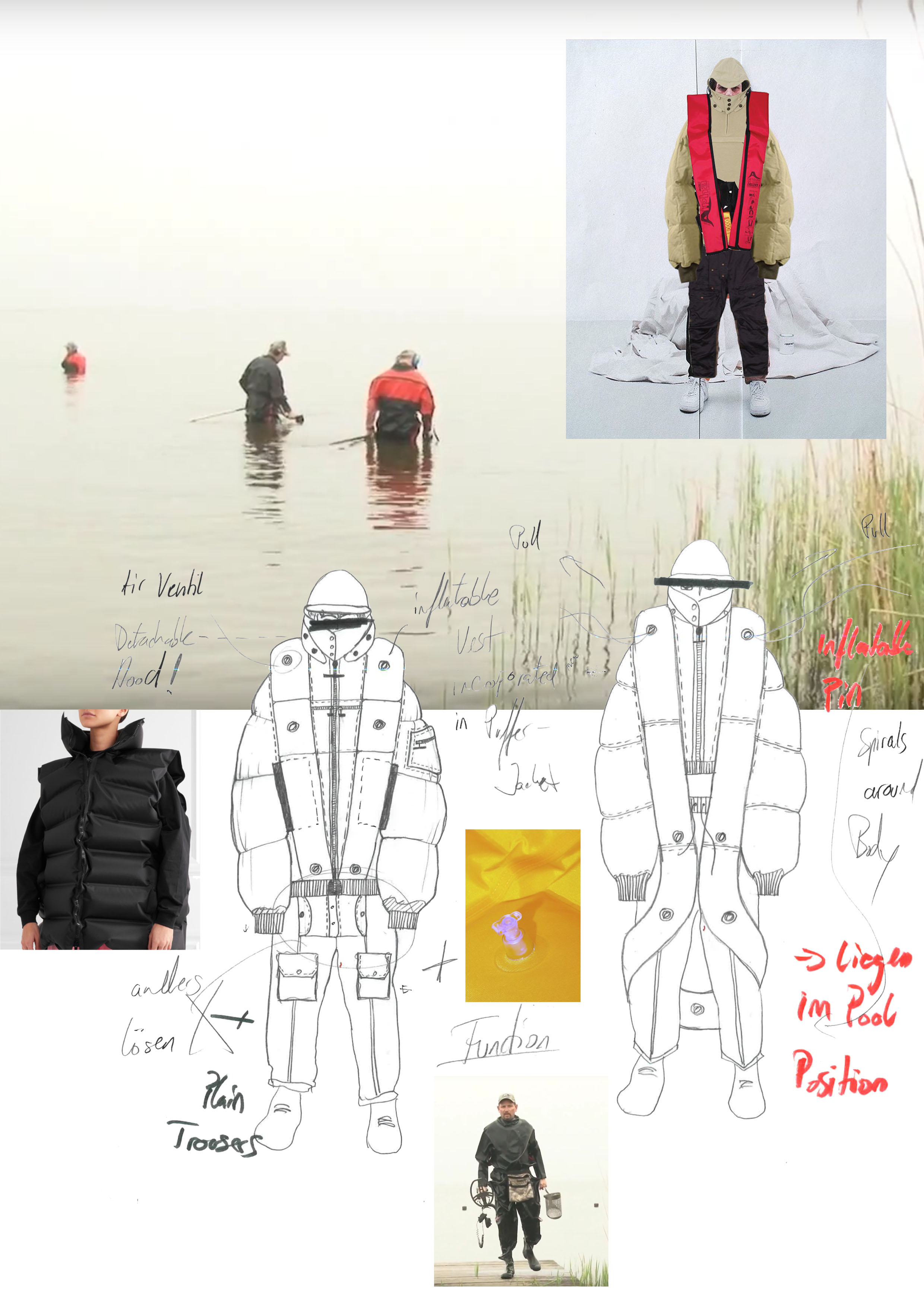 Student sketches for waterproof jacket and photo of jacket submerged in water