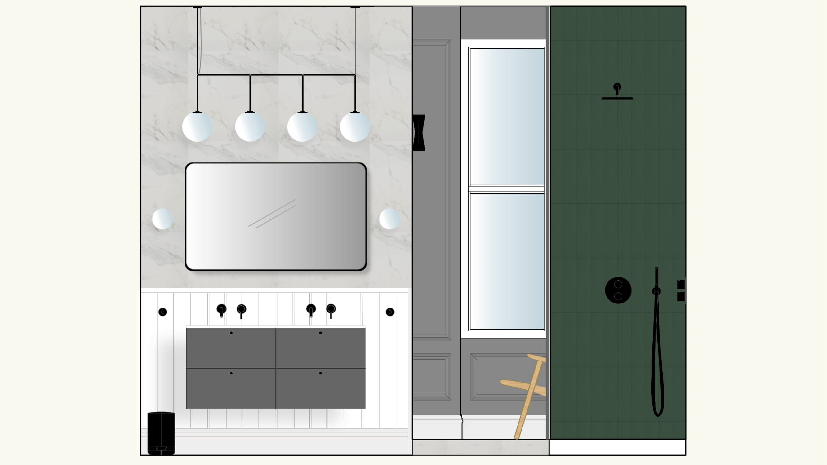 Digital concept board of a bathroom with mirror and lights on the left and a open plan shower on the right