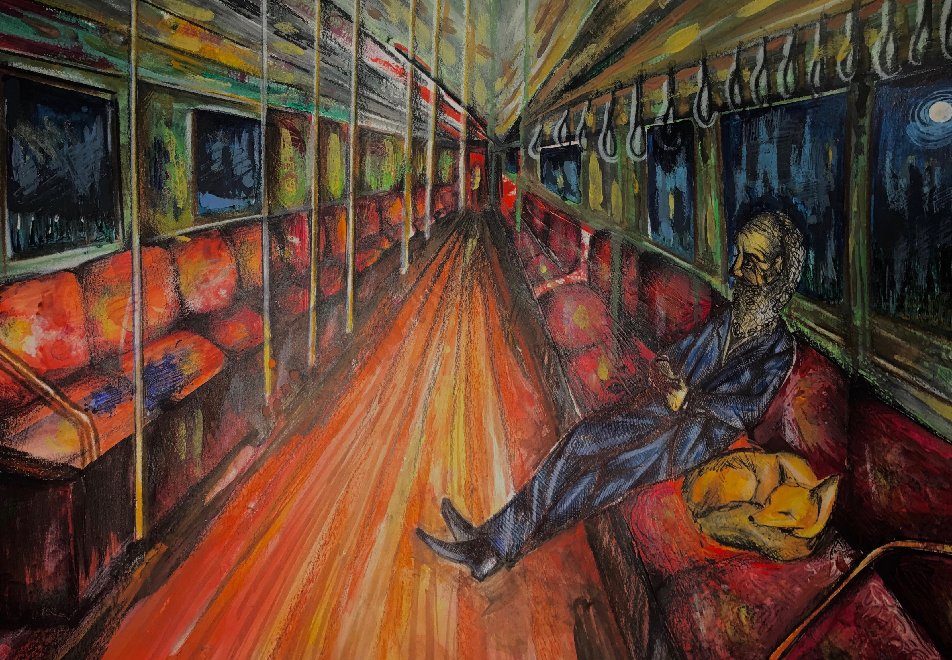 Illustration of a lone passenger sitting on an empty train carriage. Beside them is a sleeping fox curled up.