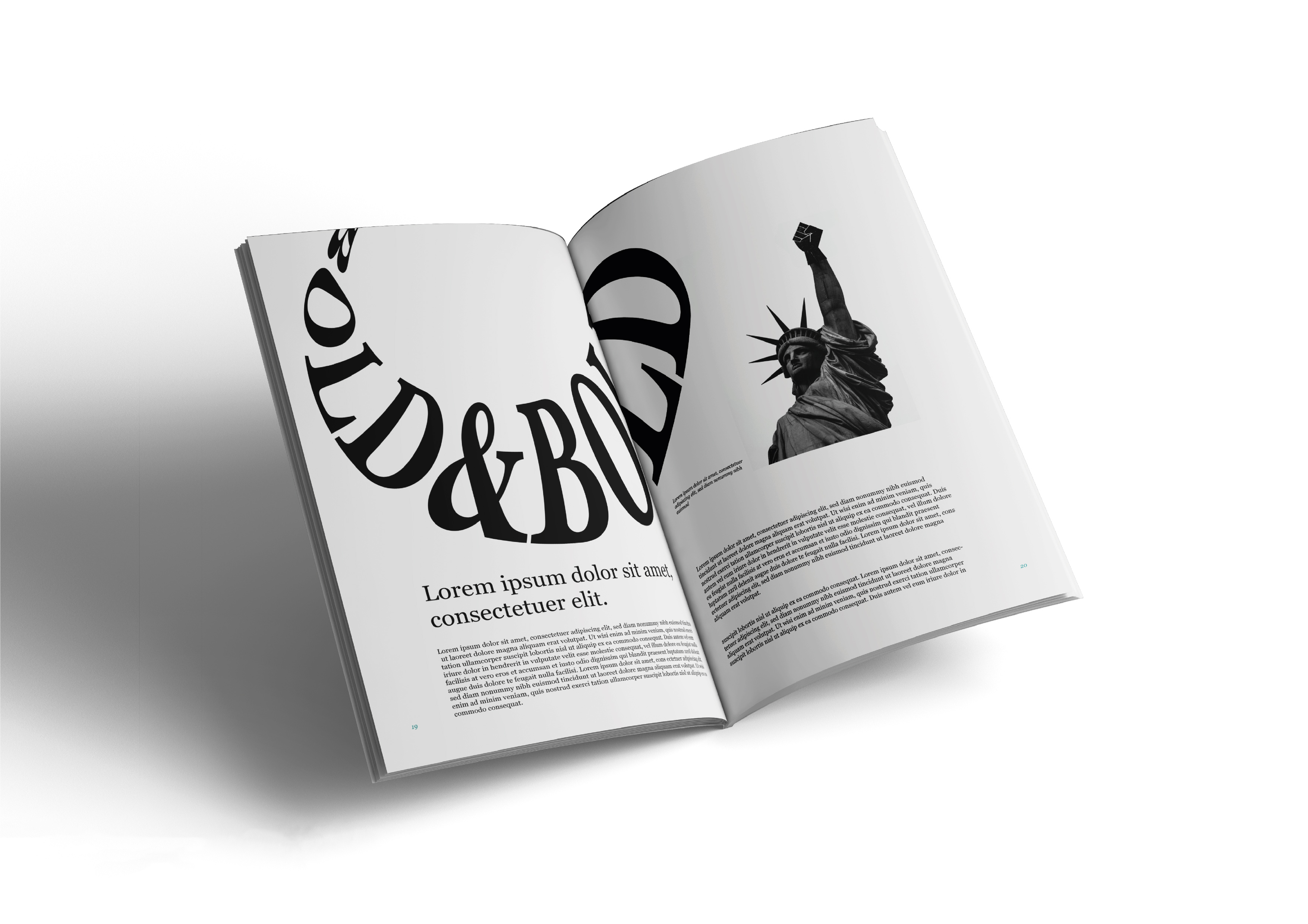 A magazine spread mock-up by Miran Jurisevic for 'Bold
