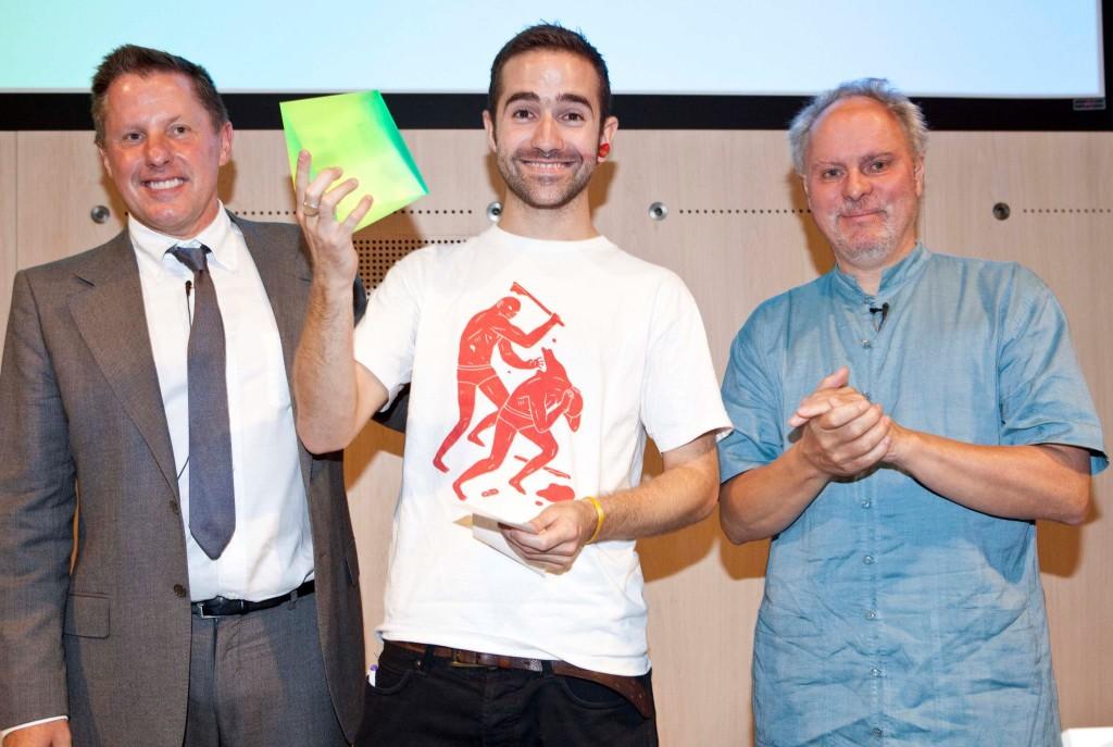 Nova Award winner Luke Franklin with Jeremy Till, Head of CSM and Tony Wright, Chairman of Lowe and Partners.