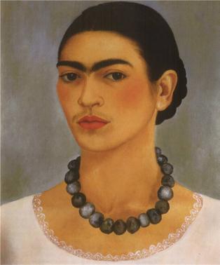 Sef portrait of Frida Kahlo, wearing a necklace