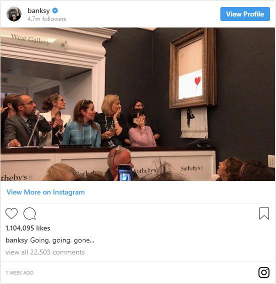 a tweet showing Banksy's painting self shredding