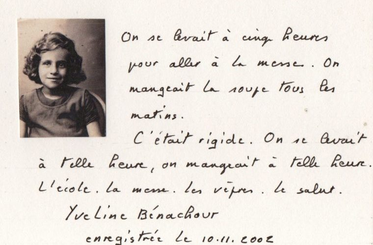 A hand written note found by Lynda. In French, it walks about the daily routine at the orphanage.