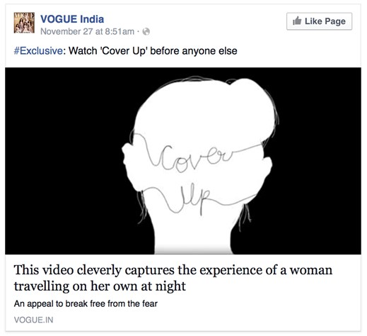 Vogue India's Facebook post about Roshnee's film.