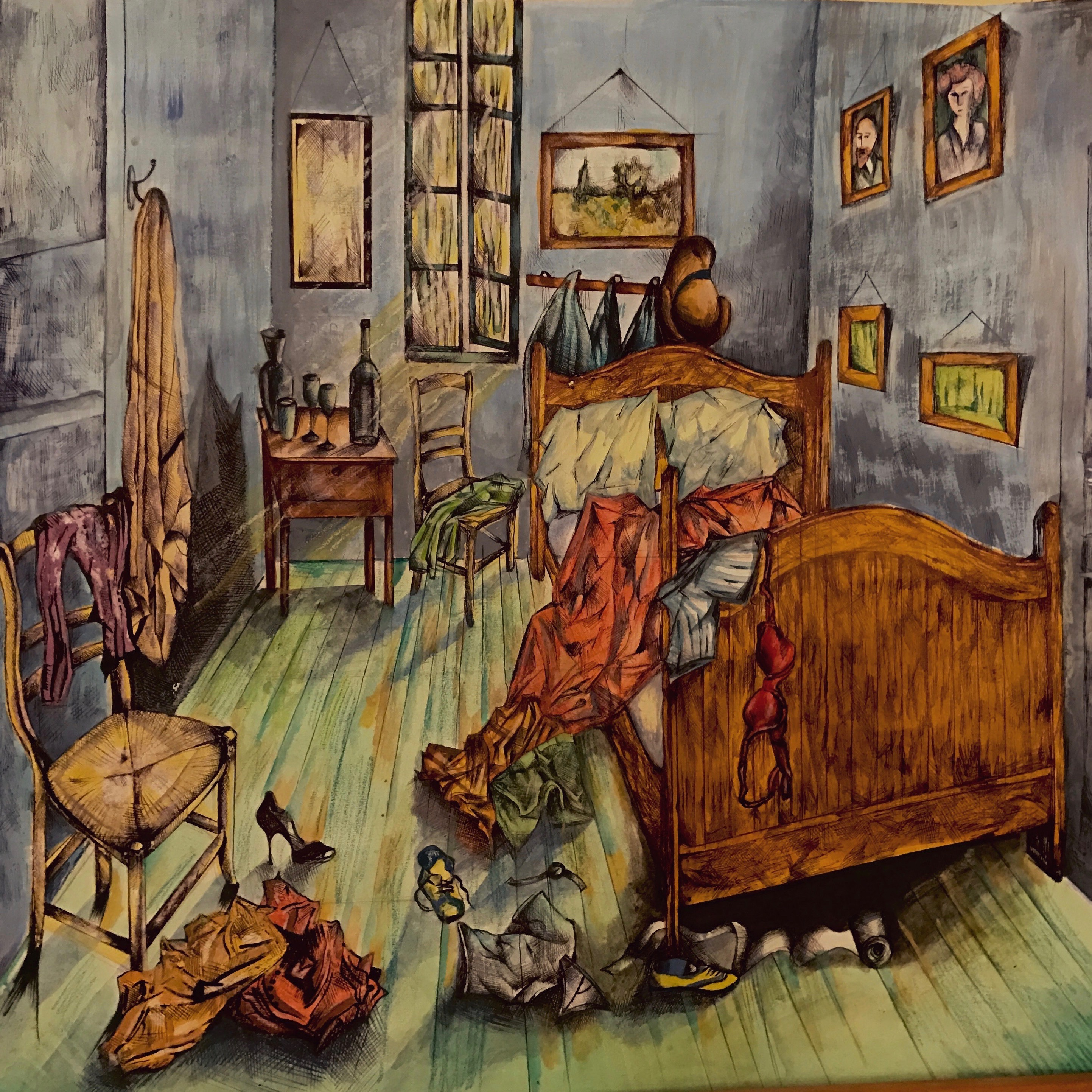 Illustration of a messy bedroom with clothes and shows strewn across the room. The bed is not made and the walls are light blue with framed pictures fixed on the wall. There is also an empty bottle of wine on the bedside table.