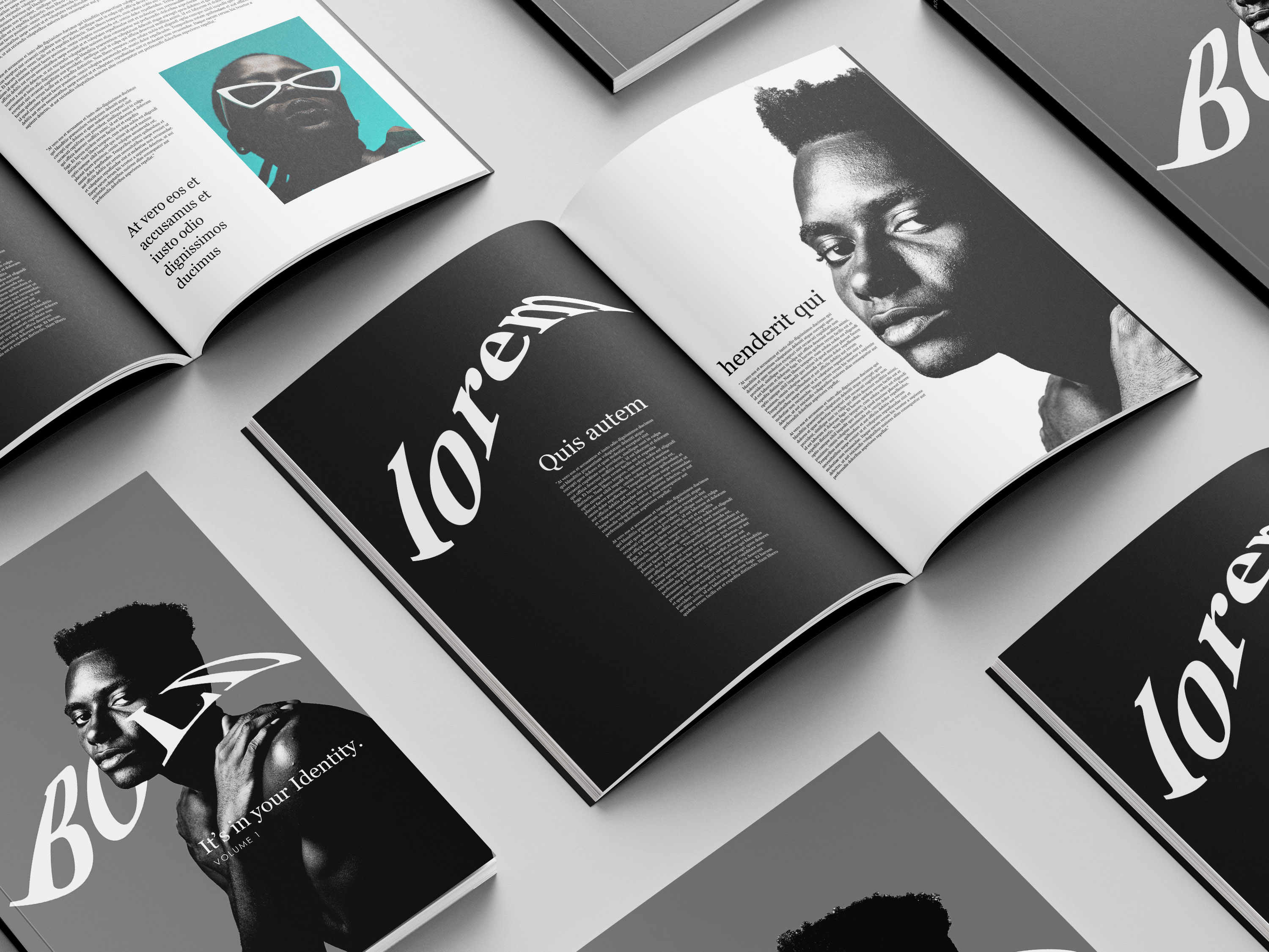 Work by Miran Jurisevic showing a magazine spread mock-up for 'Bold' in black and white