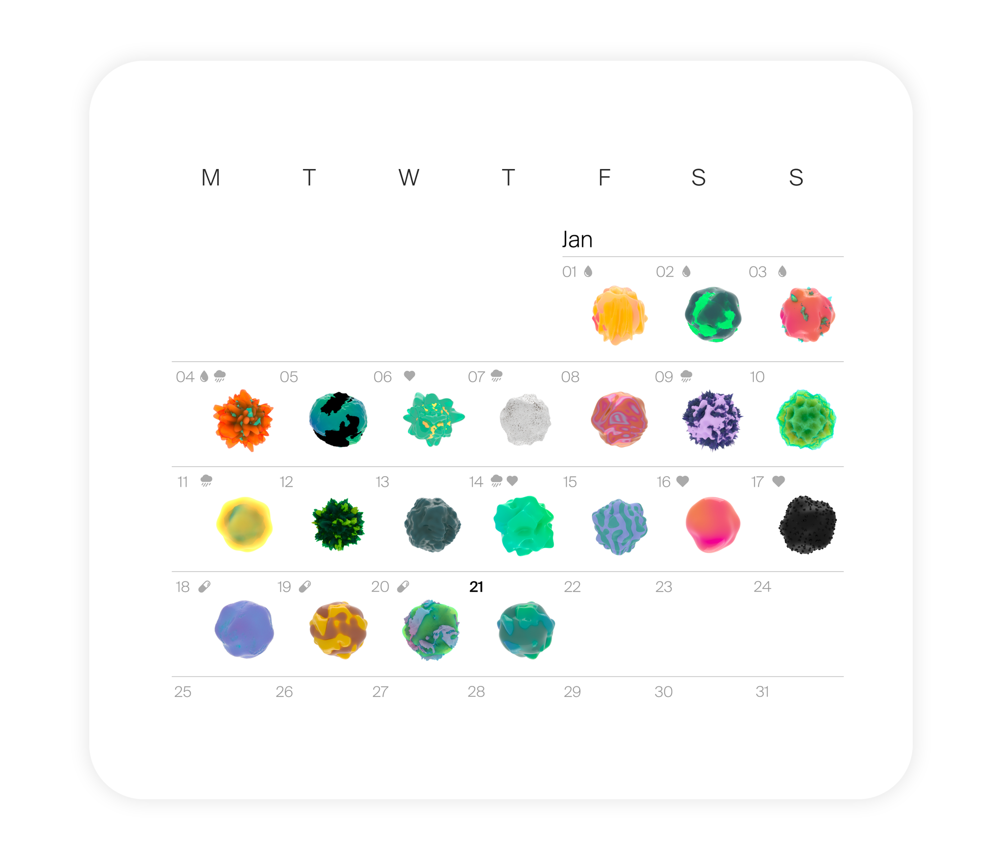 Calendar with decorative 3D visuals on each day.