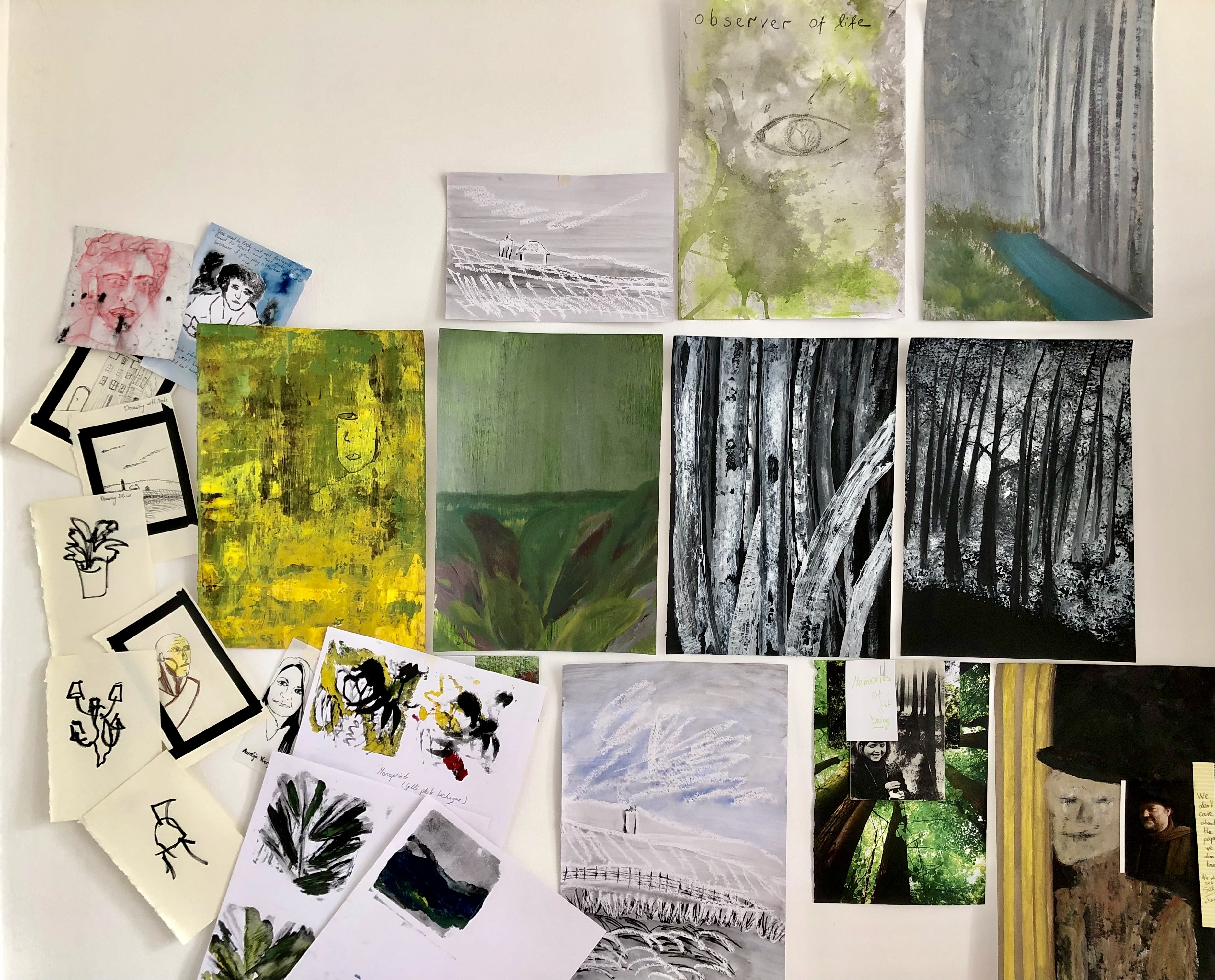 A collection of sketches by Aurelija Verger created on the short course