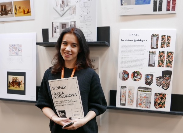 Daria Rodionova with her winning 'Fashion Fridges' designs at Retail Design Expo 2016
