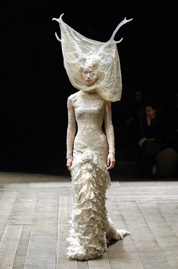 Tulle and lace dress with veil and antlers, Alexander McQueen Widows of Culloden, A/W 2006–07. Raquel Zimmerman, VIVA London, Image: firstVIEW