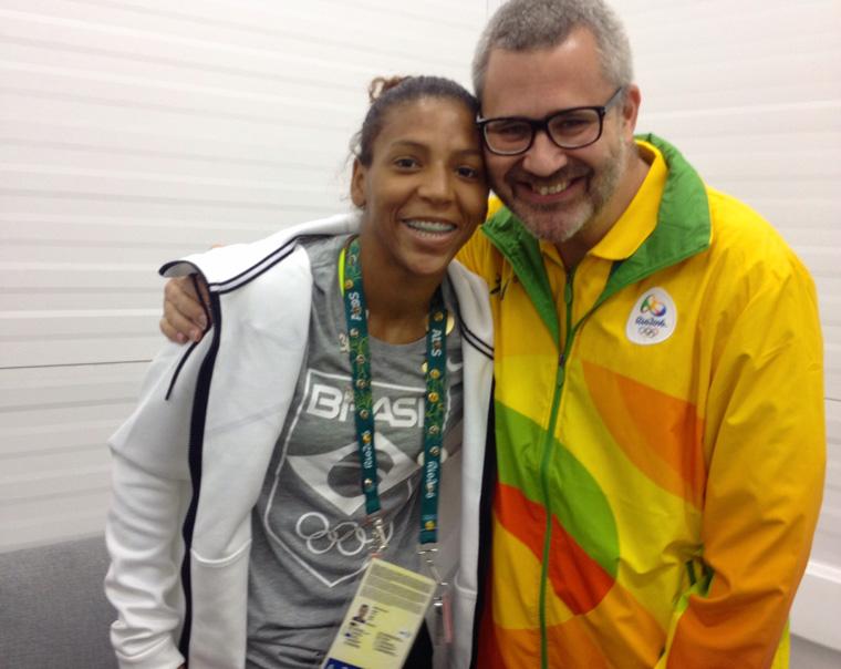 Marcelo with Brazil's first gold medalist Rafaela Silva