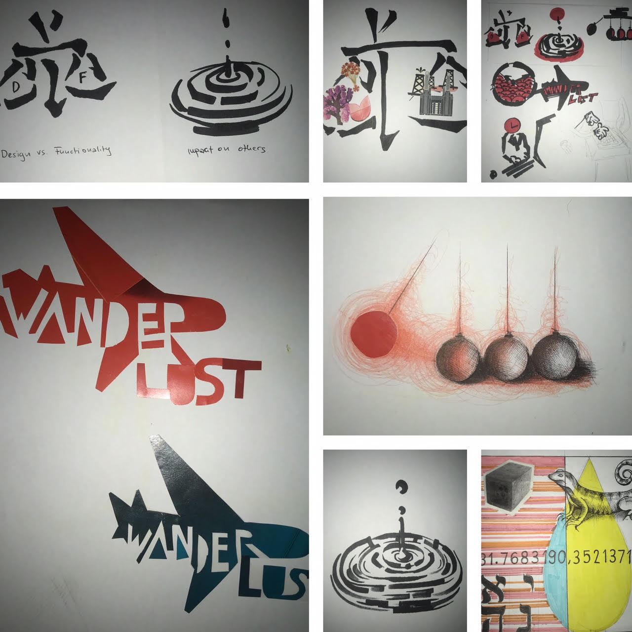 A collage of different illustrations. Including east-asian typography and a stencil of two aeroplanes with the word 'Wanderlust' written over it.