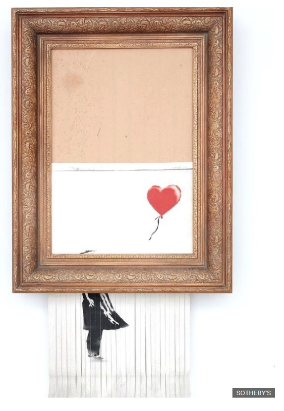 Banky's picture of a girl with a balloon shreds