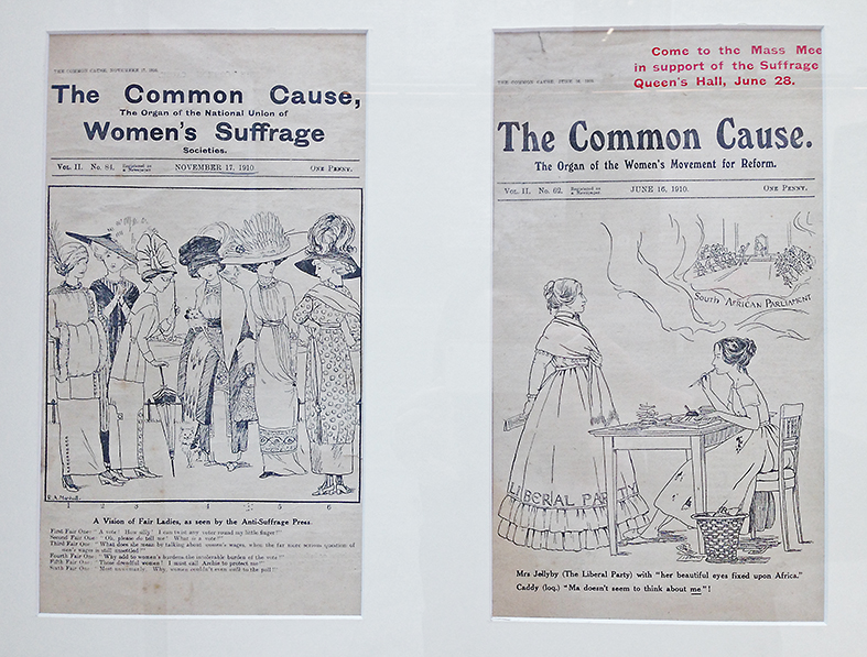 Rachel 'Ray' Marshall (1891 – 1940); Cover cartoons for suffragette publication 'The Common Cause' 1910 Photo credit Ruth Sykes