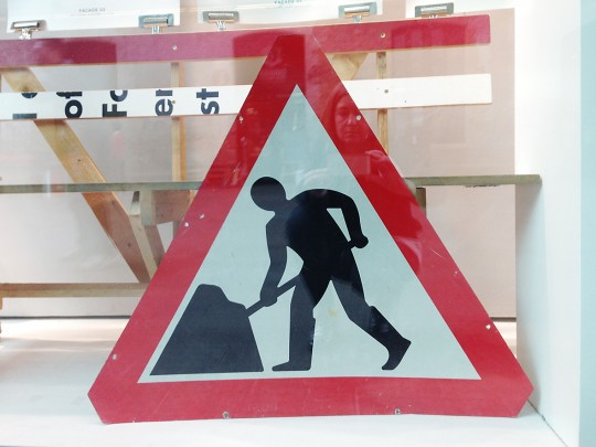 Margaret Calvert (b.1936), Men At Work, part of the Kinneir Calvert road sign system for Britain launched in 1965. Photo credit Ruth Sykes