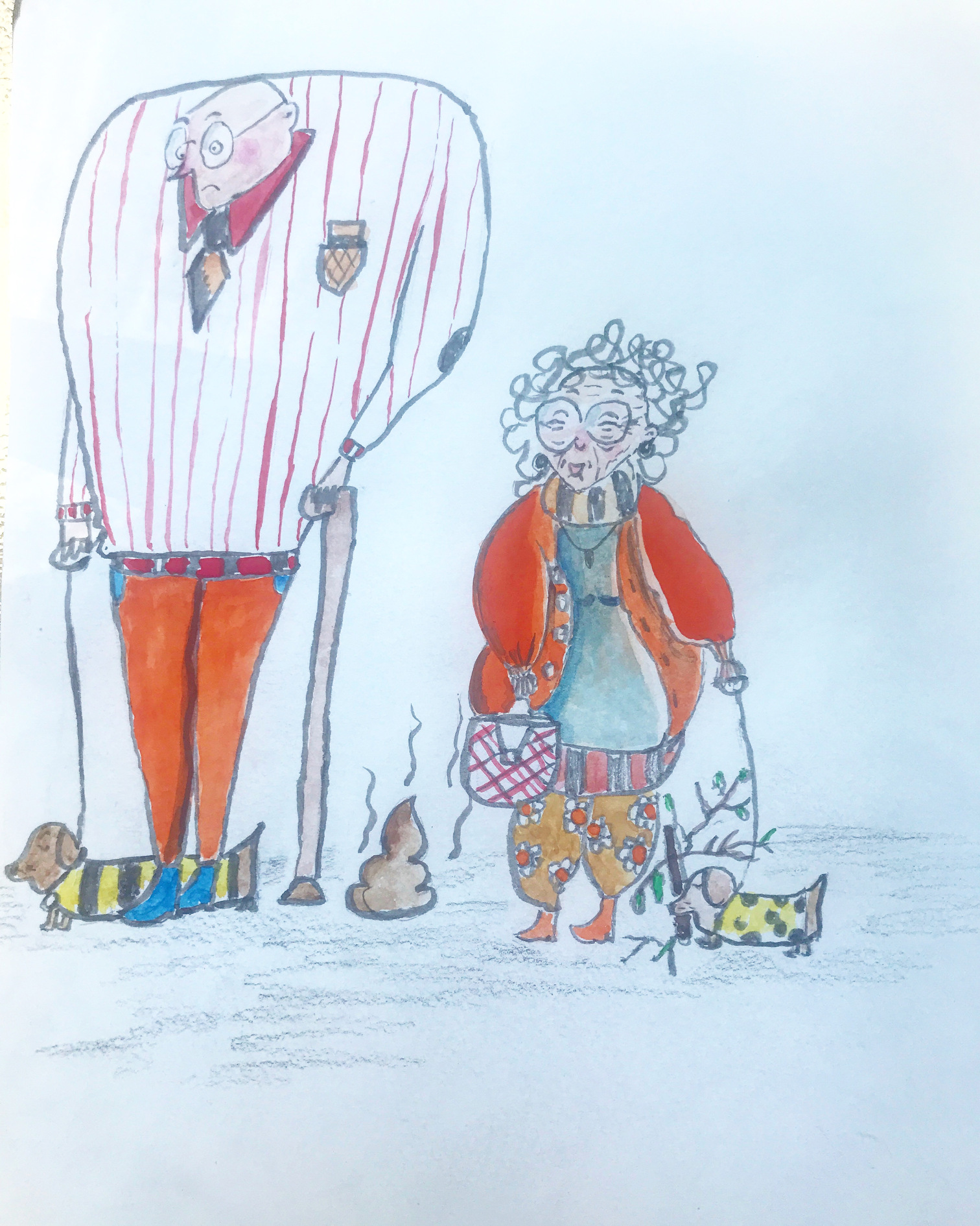 Rough illustrations of a cartoon elderly couple