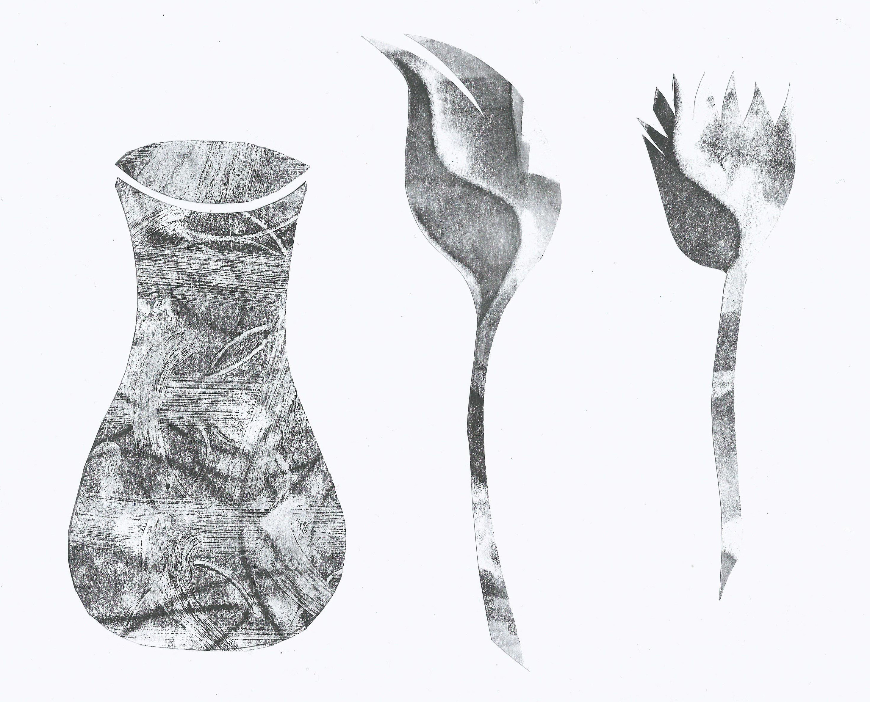Black and White print of a vase and flowers