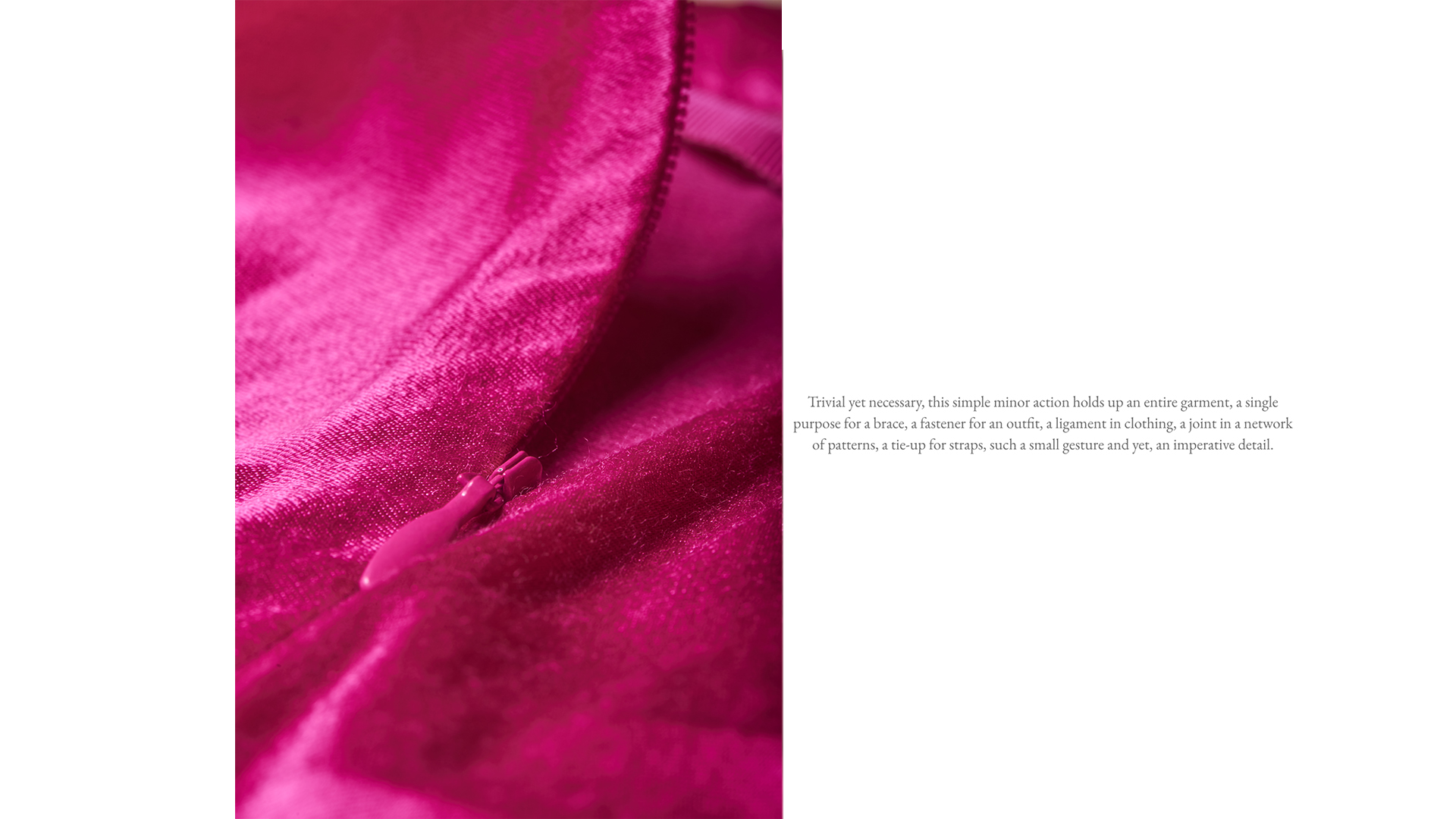 pink fabric with zip fasterner