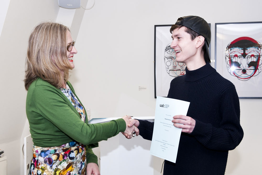 Ben Barron receives his award from Professor Susan Orr