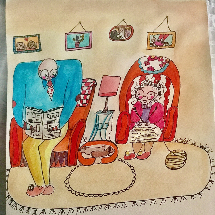 Hand drawn illustrations of a cartoon elderly couple sitting in their living room