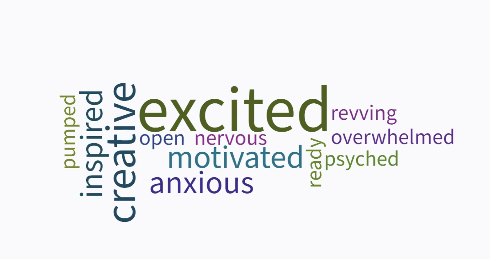 Screenshot of a video call lobby and word cloud