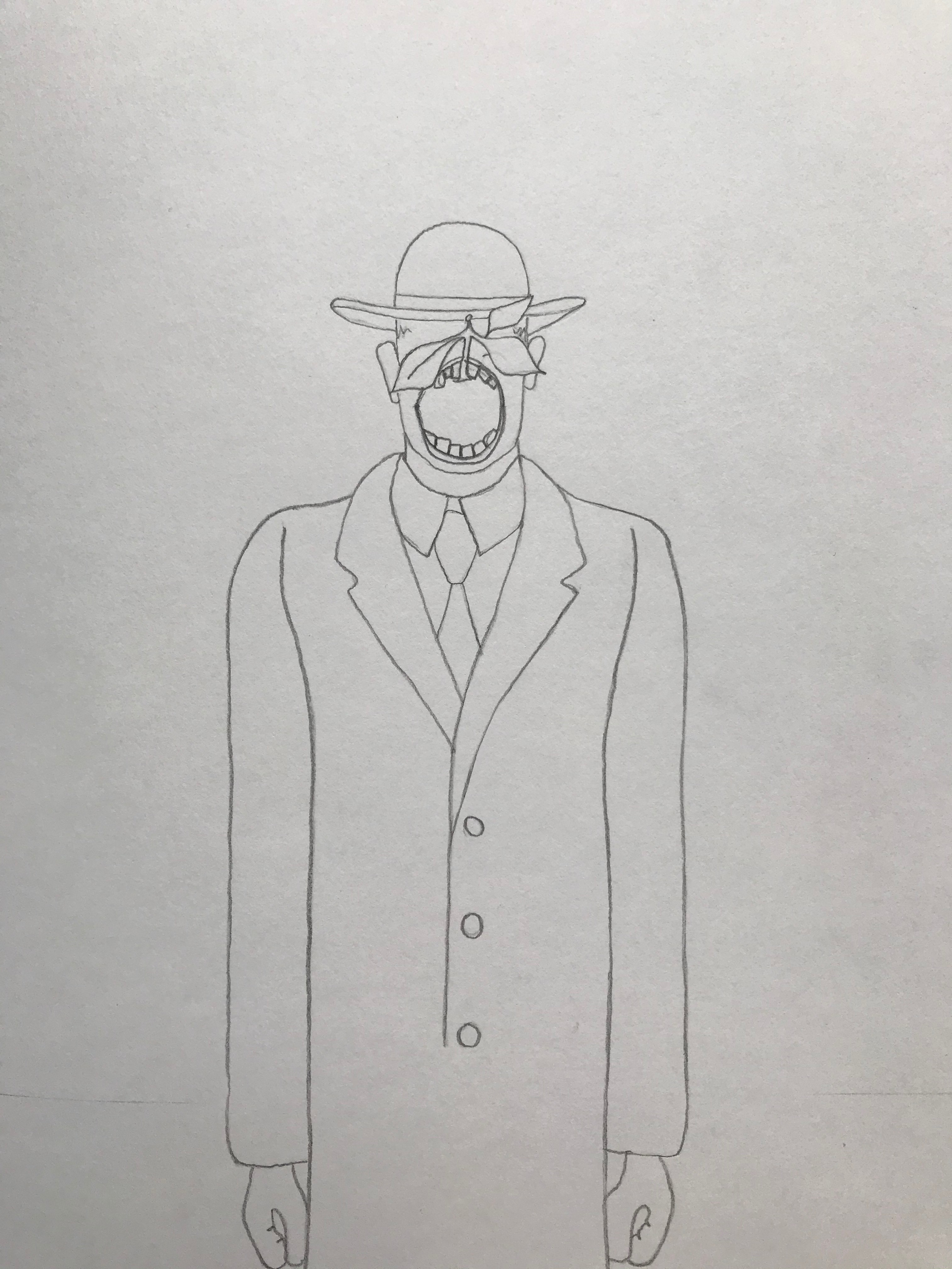 Hand drawn illustration of a man in a long cost and suit. He is wearing a hat and his wide is wide open baring his teeth.