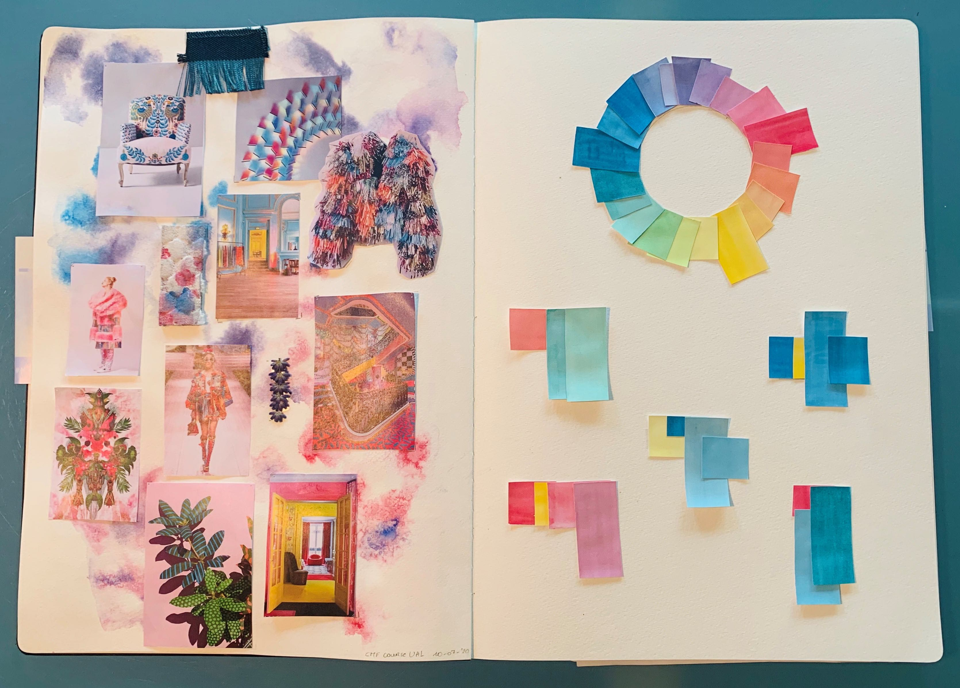 An open sketch book with a handmade colour wheel and a moodboard of different colour combinations