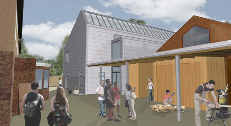 A CGI view of the entrance to the finished studio building.