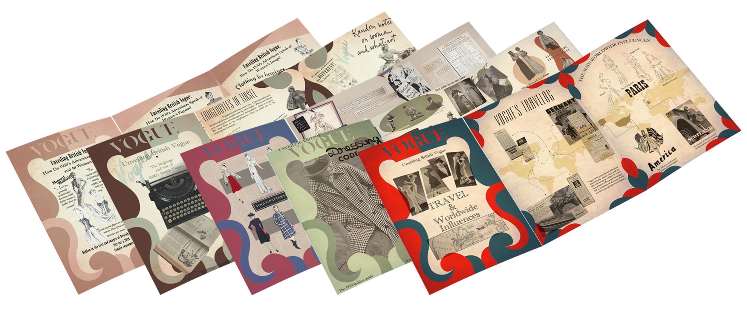 scattered vintage vogue magazines