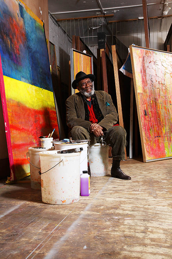 Frank Bowling OBE, RA In his studio, London, 2008. Photograph: Luke Potter